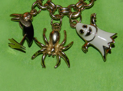 Ghost Spider and Stork Halloween Charms