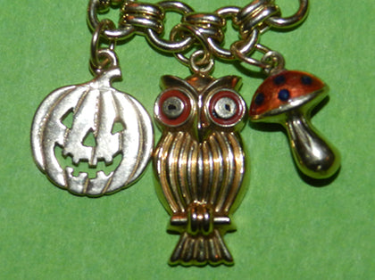 Pumpkin Owl and Toadstool Halloween Charms