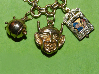 Cauldron Devil and Punch & Judy Halloween Charms