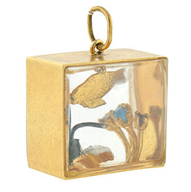 Vintage gold and enamel fish tank charm