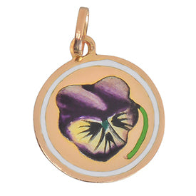 Art Deco gold and enamel pansy flower charm