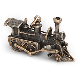 Victorian locomotive train charm in gold and silver