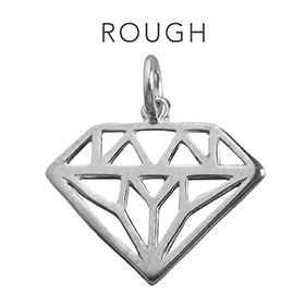 Rough Diamond Charming Idiom Sterling Silver Charm Pendant