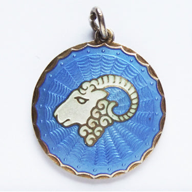 Vintage Scandinavian Blue Enamel Norway Aries Ram Charm