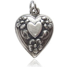 Vintage silver puffy heart with flowers charm