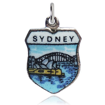 Vintage silver enamel Sydney harbour travel shield charm