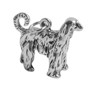 Afghan hound charm sterling silver dog pendant