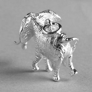 African Elephant Charm Sterling Silver Back