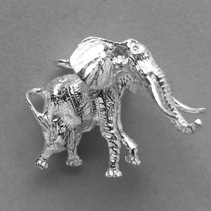 African Elephant Charm Sterling Silver Side