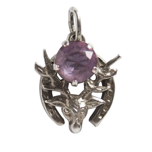Deer stag horseshoe charm with amethyst