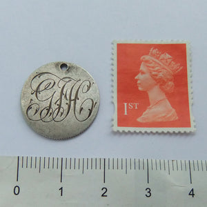 Victorian Love Token Coin Charm Engraved GJH