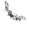Flying Halloween Bat Charm Sterling Silver Front