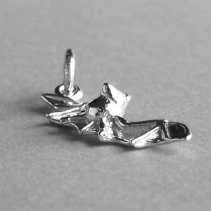 Flying Bat Charm Sterling Silver Side