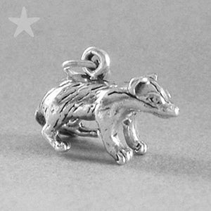 Badger Charm Sterling Silver Animal Pendant | Charmarama