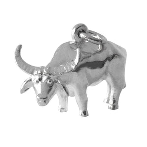 Water buffalo charm sterling silver or gold animal pendant