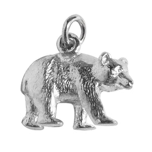 Grizzly Bear Charm Sterling Silver Pendant