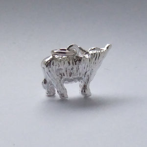 Highland Cow Charm Sterling Silver Pendant
