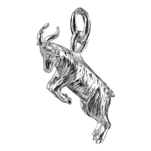 Rearing Goat Charm Sterling Silver
