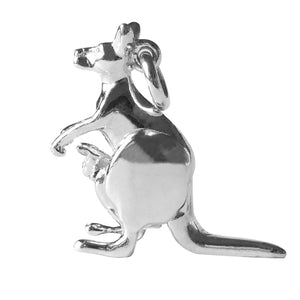 Kangaroo Charm with Moving Joey Sterling Silver or Gold Pendant