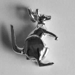 Kangaroo Charm with Moving Joey Sterling Silver or Gold