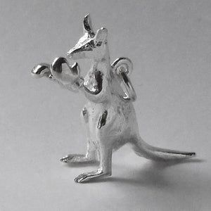 Boxing kangaroo charm sterling silver or gold pendant