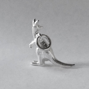 Small kangaroo charm sterling silver or gold pendant