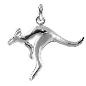 Bouncing kangaroo charm sterling silver or gold pendant