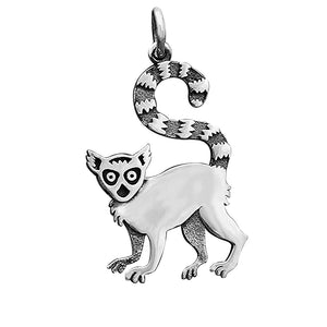 Lemur Charm Sterling Silver Animal Pendant