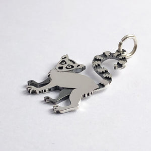 Ring-Tailed Lemur Charm Sterling Silver Animal Pendant