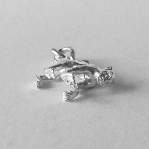 Sterling silver monkey charm animal pendant front