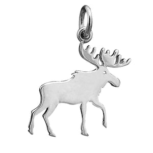 Moose Silhouette Charm Sterling Silver