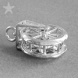 Mouse in Wheel Mechanical Charm Pendant | Silver Star Charms