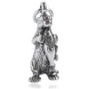 Otter with fish charm sterling silver pendant