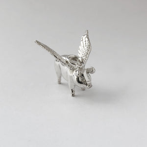 Flying Pig Charm Sterling Silver or Gold | Charmarama