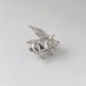 Winged Pig Charm Sterling Silver or Gold Charmarama