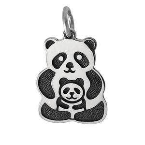 Sterling silver panda charm with baby cub which can be worn as a pendant