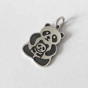 Sterling silver panda charm with baby cub which can be worn as a pendant side