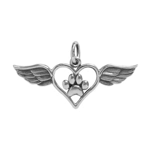 Winged Heart with Paw Print Charm Sterling Silver Animal Pendant