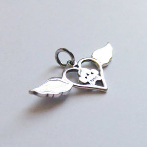 Heart with Wings Paw Print Charm Sterling Silver Pet Pendant