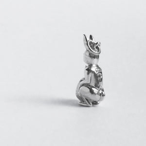 Easter Bunny Rabbit and Egg Charm Sterling Silver Pendant Reverse