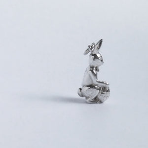 Easter Bunny Rabbit and Egg Charm Sterling Silver Pendant Side