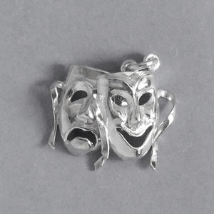 Comedy Tragedy Masks Charm Sterling Silver or Gold Pendant