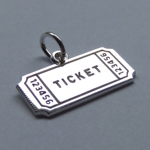 Concert Ticket Charm Sterling Silver Pendant