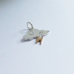 Cloud Charm with Lightning Bolt Sterling Silver Bronze