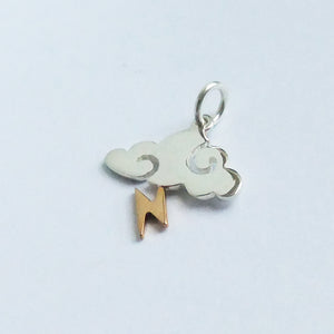 Storm cloud Charm with Lightning Bolt Sterling Silver Bronze