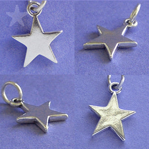 Star charm five pointed sterling silver pendant