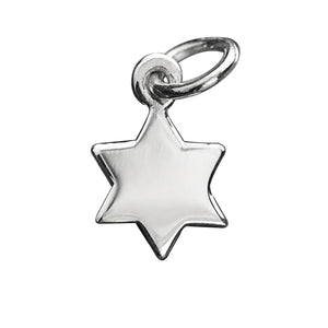Six pointed star charm sterling silver