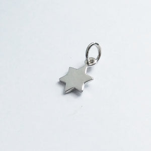 Six point star charm sterling silver
