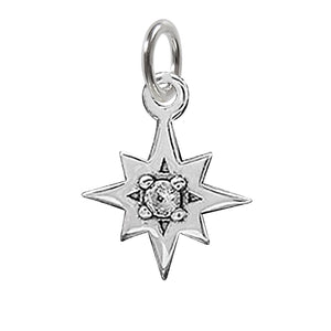 Crystal Set Star Charm Sterling Silver
