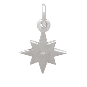 Crystal Set Star Charm Sterling Silver Reverse